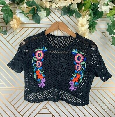 ZARA Knit Crop Mesh Black Knit Top Floral Embroidery Size Small Festival Concert