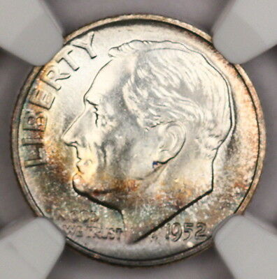 1952-P Roosevelt Dime NGC MS66 FT Gorgeous Album Toned Colorful Toning! 12R