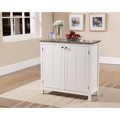 Kings Brand White With Marble Finish Top Kitchen Island Storage Cabinet ~New~