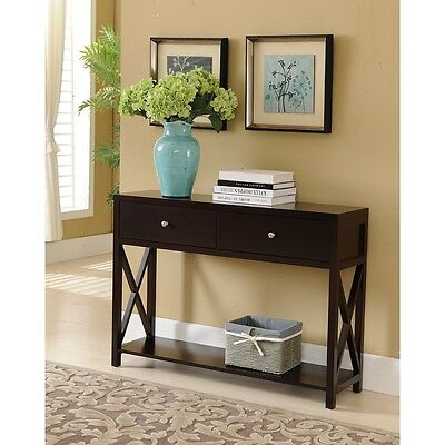 تربيزه جديد Kings Brand Dary Cherry Finish Wood Entryway Console Sofa Occasional Table