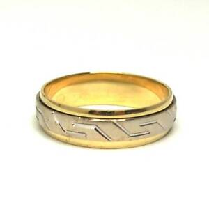 18ct Two Tone Mens Ring - Size R1/2