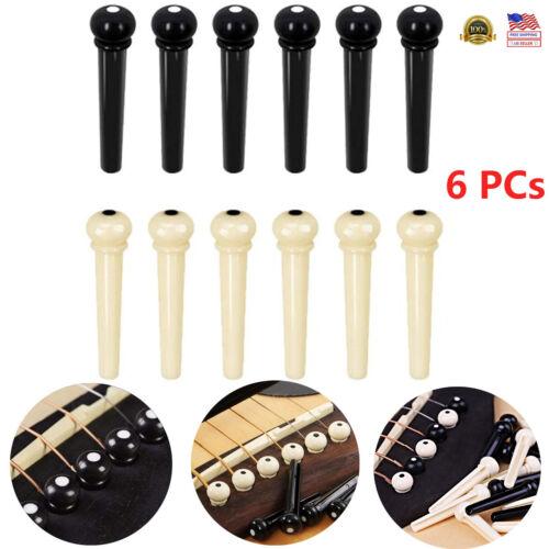 Acoustic Guitar Bridge Pins Plastic String End Peg Connectors Pack of 6