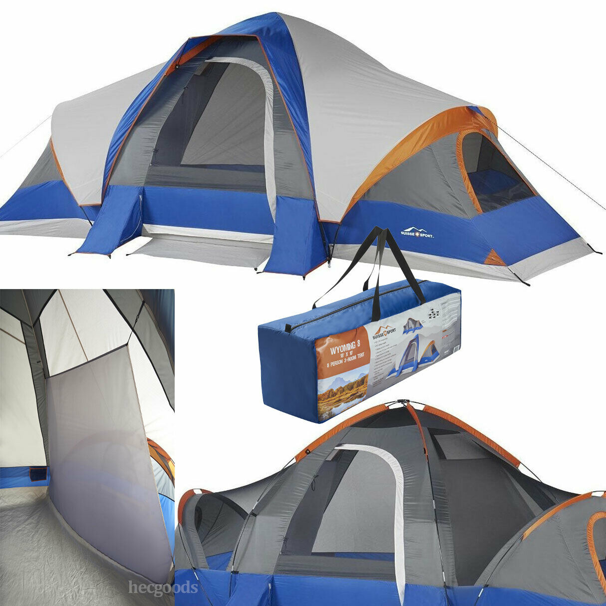 OZARK Trail 10-Person 3-Room Cabin Tent with side entrances