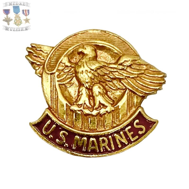 RARE*** WWII U.S. MARINES LAPEL PIN RUPTURED DUCK HONORABLE DISCHARGE SCREW-BACK