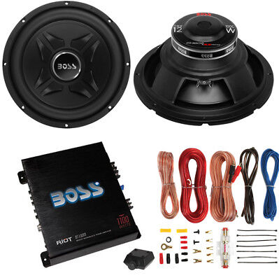 "2) Boss CXX12 12"" 2000W Car Audio Power Subwoofer Sub+ Mono Amplifier+Amp Kit"