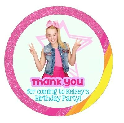 Birthday Party Thank you round Favor Tags / Stickers JOJO SIWA! w/ your name  - Thank You Tags