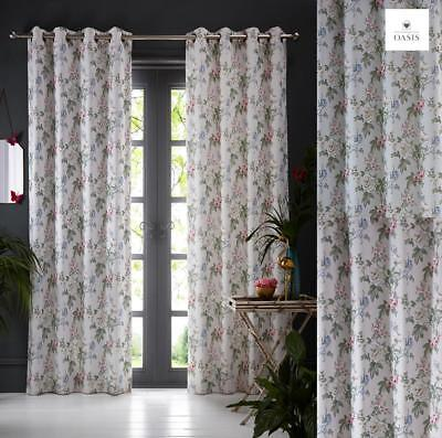 Oasis Bailey Lined Eyelet Ring Top Curtains Subtle Stripe Floral Design Vintage Oasis Bailey