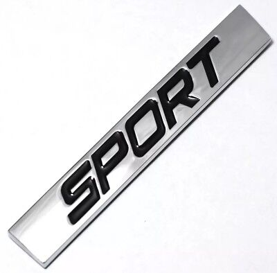 New Metal SPORT Car Emblem Logo Badge Silver And Black - Free USA Shipping