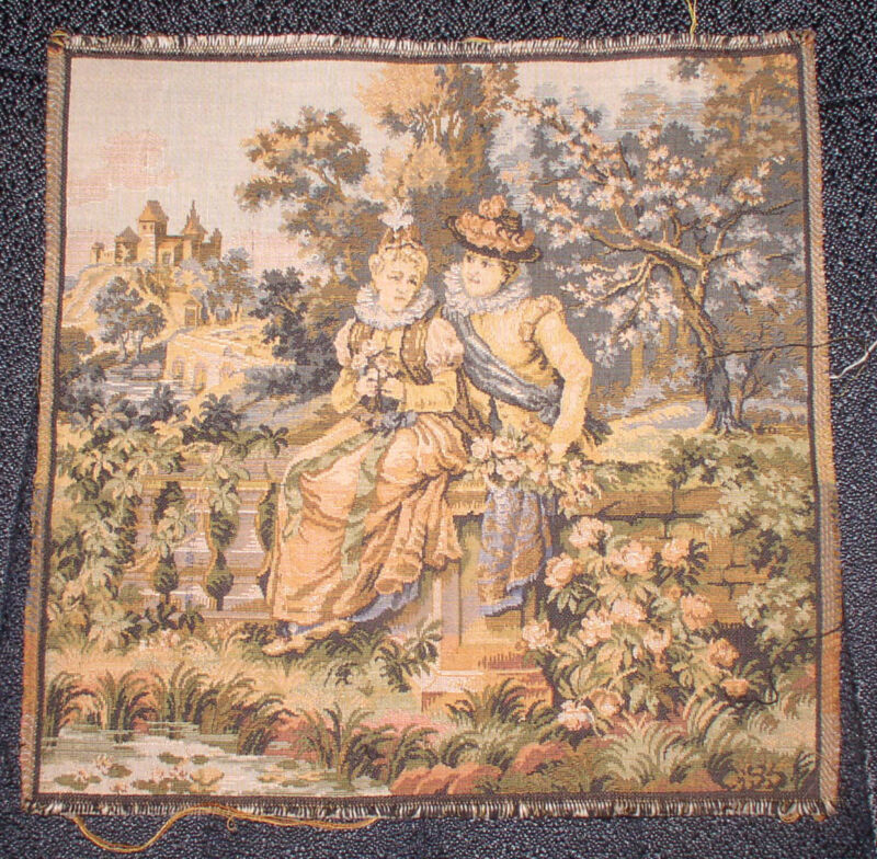ANTIQUE FABRIC TEXTILE BROCADE FRENCH VICTORIAN COUPLE ON GARDEN WALL PILLOW