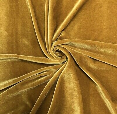 "STRETCH GOLD VELVET COSTUME / CRAFT DRESS FABRIC 58"" WIDE SOLD BY THE YARD"