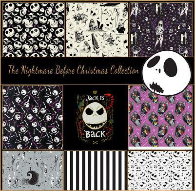 istmas 100% Cotton Fabric, Fat 1/4, 1/2 Metre, Metre (Nightmare Before Christmas Stoff)