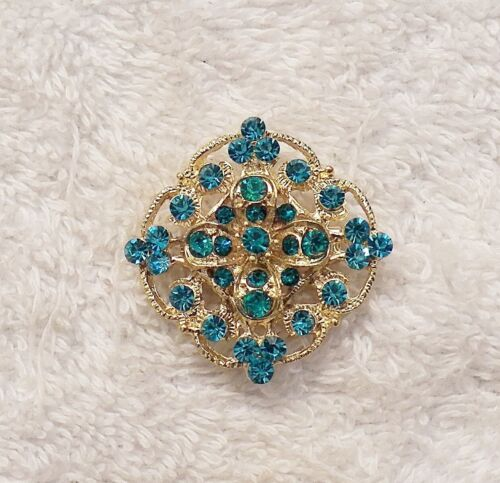 VINTAGE REPRO PIN BROOCH ROUNDED SQUARE ON END DESIGN BLUE RHINESTONES AR VL-GT3