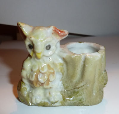 1950s Ceramic TOOTHPICK HOLDER White Comic OWL Near Tree Trunk JAPAN