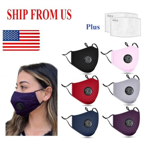 Adult PM2.5 Cotton Respirator Mask Mouth Cover 12 Colors Avai.+2 Carbon Filters