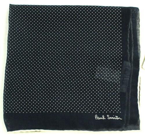 New Paul Smith Wool Silk Hand Made in Italy Navy Polka Dot  Pocket Square