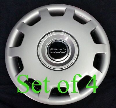 "SET OF FOUR (4) Wheelcovers for 2010-2014 FIAT 500 15"" Hubcap 68078420AB NEW"