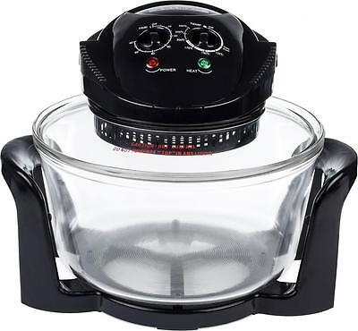 Andrew James 12 LTR Halogen Oven Premium Convection Cooker Black 1300 Watts