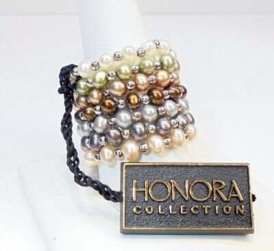 Honora Sterling Silver Cultured Freshwater Pearl Set of 7 Stretch Rings Sz 9.5