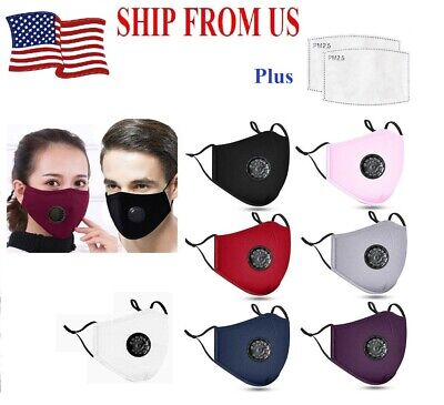 Best Quality PM2.5 Cotton Respirator Mask Mouth Cover+2 Filters 12 Colors