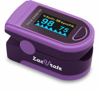 Zacurate 500d Purple Fingertip Pulse Oximeter Heart Rate Meter O2 Reader Monitor