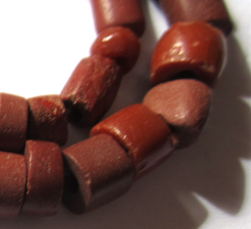 31 RARE SMALL BEAUTIFUL ANCIENT BRICK RED STONE BEADS