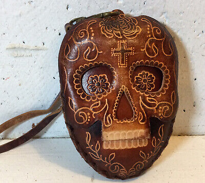 Leather Hand Made Day Of The Dead, Skull Face, Wristlet, Coin Purse