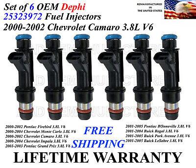 Genuine Delphi Set of 6 Fuel Injectors For 2000-2002 Chevrolet Camaro 3.8L V6