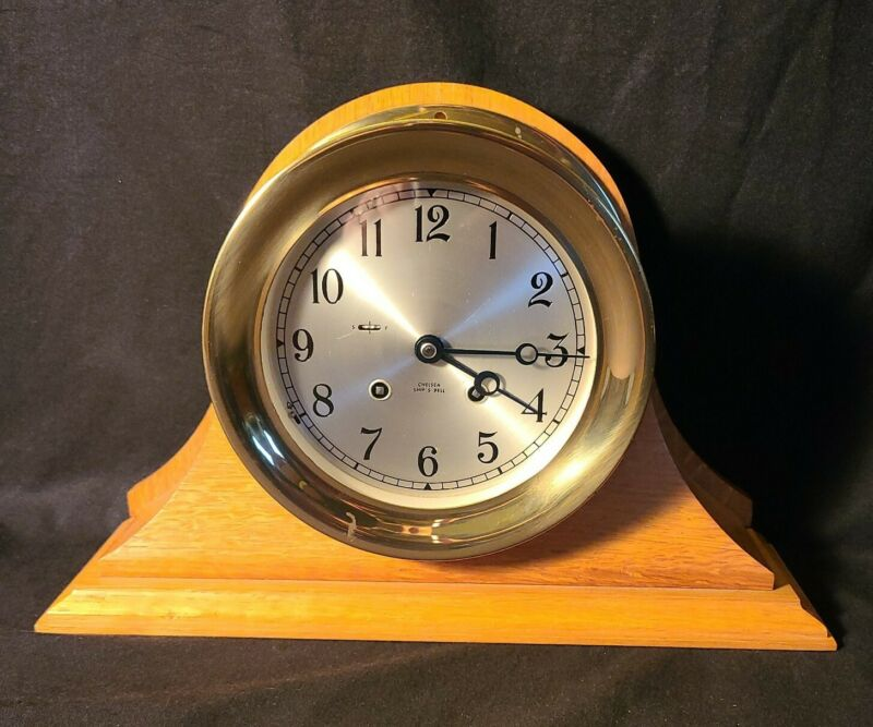 Chelsea Heavy Brass Ship's Bell Clock, Wood Base, Key Serial Number 1980-1984