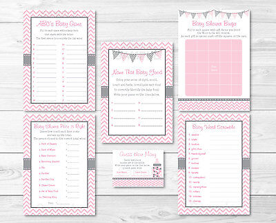 Modern Baby Shower Games (Modern Pink Chevron Baby Shower Games Pack - 6 Printable Games )