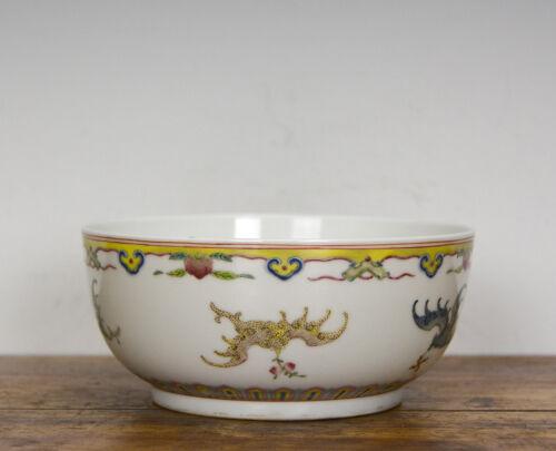 19th c. Chinese Qing Daoguang Famille Rose Longevity Bat Peach Porcelain Bowl