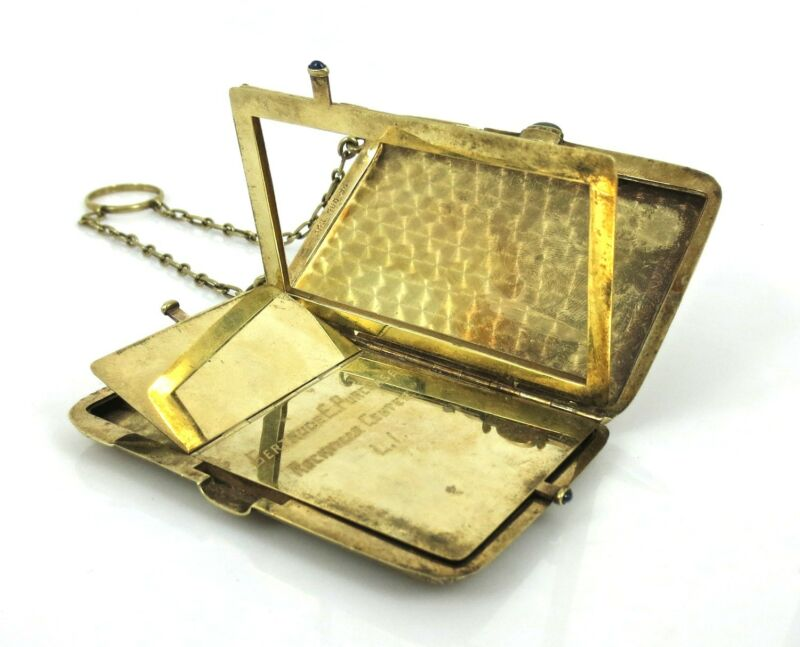 Vintage Sapphire & 14K Yellow Gold Cigarette & Matches Carved Compact Case