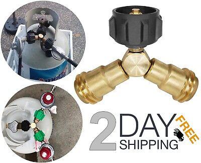 (Propane Y Splitter Gas Tank Hose Adapter Regulator Tee Valve Connector Grill )