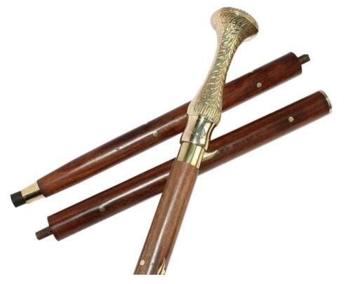 Antique+Vintage+Designer+Brass+Victorian+Head+Handle+Wooden+Walking+Stick+Cane
