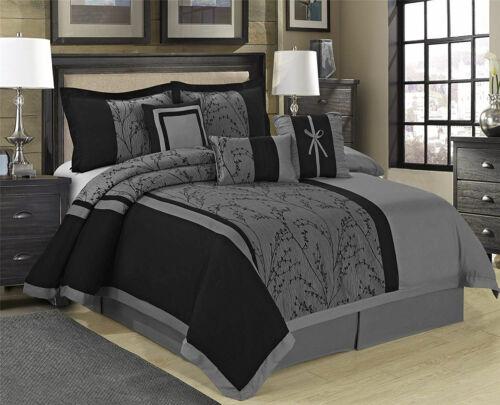 HIG 7 Piece LETICIA Floral Jacquard Patchwork Gray and Black Comforter Set