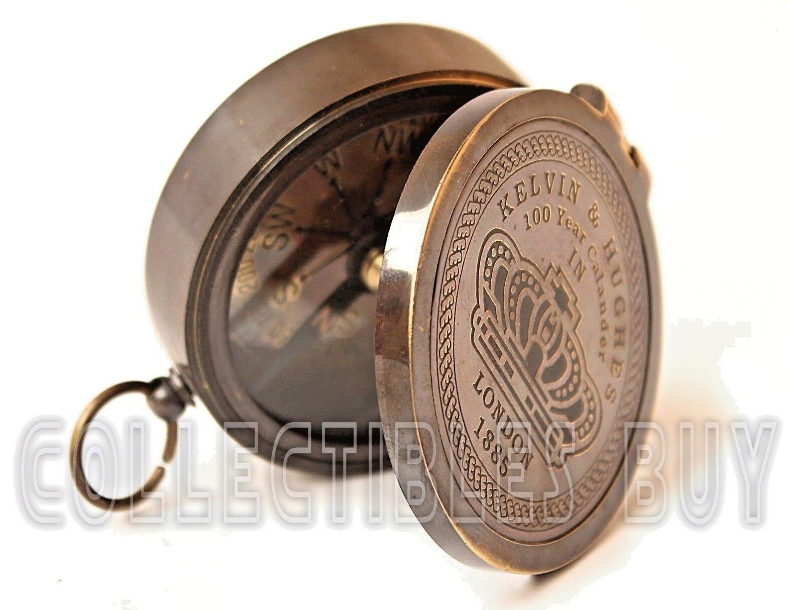 Vintage Kelvin & Hughes Compass 100 Years Calendar Antique Pocket Navigation