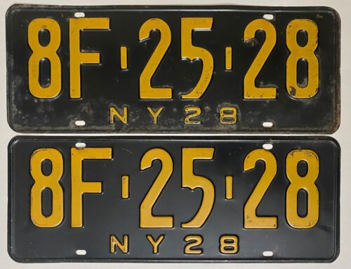 1928 NEW YORK License Plate PAIR - #8F-2528