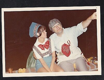 Vintage Photograph Man & Woman In Pinocchio & Geppetto Costumes- Halloween