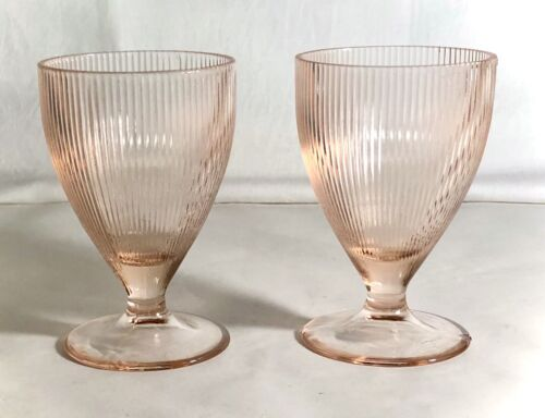 """2 Jeannette Pink Homespun 4"""" 5 oz. Footed Tumblers No Band"""