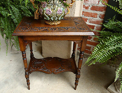 Antique English Carved Tiger Oak Lamp End  Table Two Tier