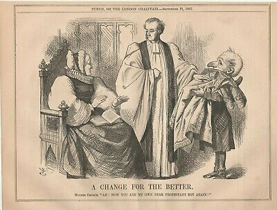 1867 Punch Cartoon Mother Church Welcomes Protestant Boy Change for (Best Cartoons For Boys)