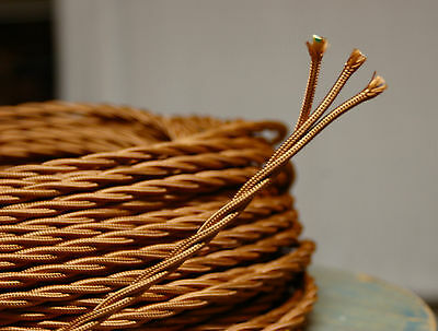 Bronze Twisted 3-Wire Cloth Covered Cord 18ga. Vintage Lamp Antique Lights Rayon