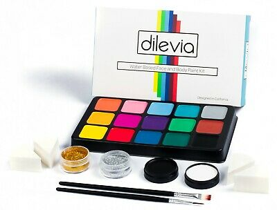 Professional Makeup Kits For Halloween (Face Paint Kit for Kids,Professional Cosmetic Grade Palette, 15 Vibrant)