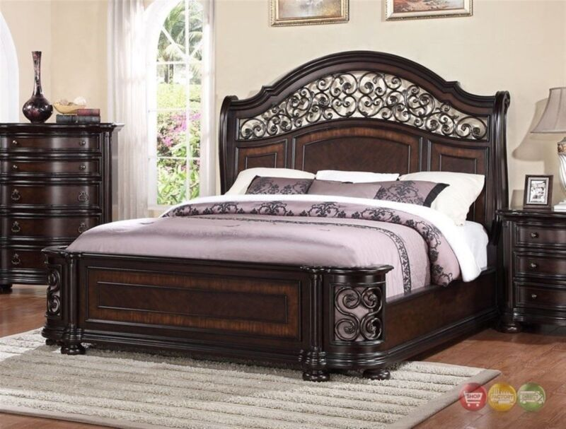 Allison Wrought Iron And Wood Queen Bed In Dark Brown