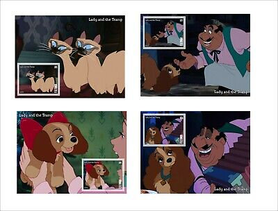 2019 DISNEY Lady and the Tramp 8 SOUVENIR SHEETS animation cartoons