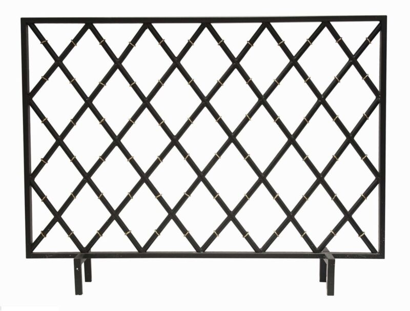 "Bamboo Black Iron Fire Screen Geometric Diamond Trellis Lattice Fireplace 40""W"
