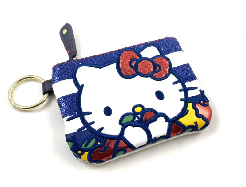 HELLO KITTY Loungefly Coin Wallet Sequins Striped Key Ring