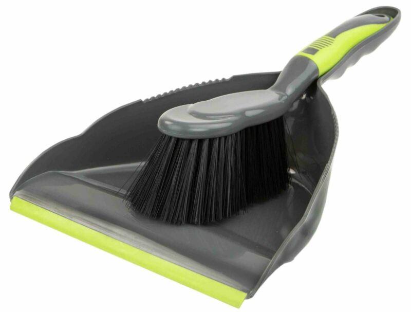 Home Basics Brilliant Dust Pan Set, Grey/Lime - PB41506