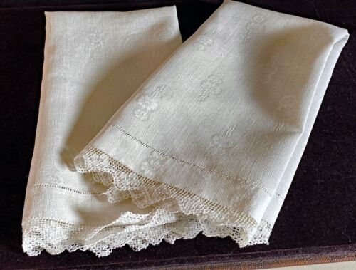 Pair of Vintage Antique Huck Damask Linen Towels w/ Lace Edge Hemstitching WW80