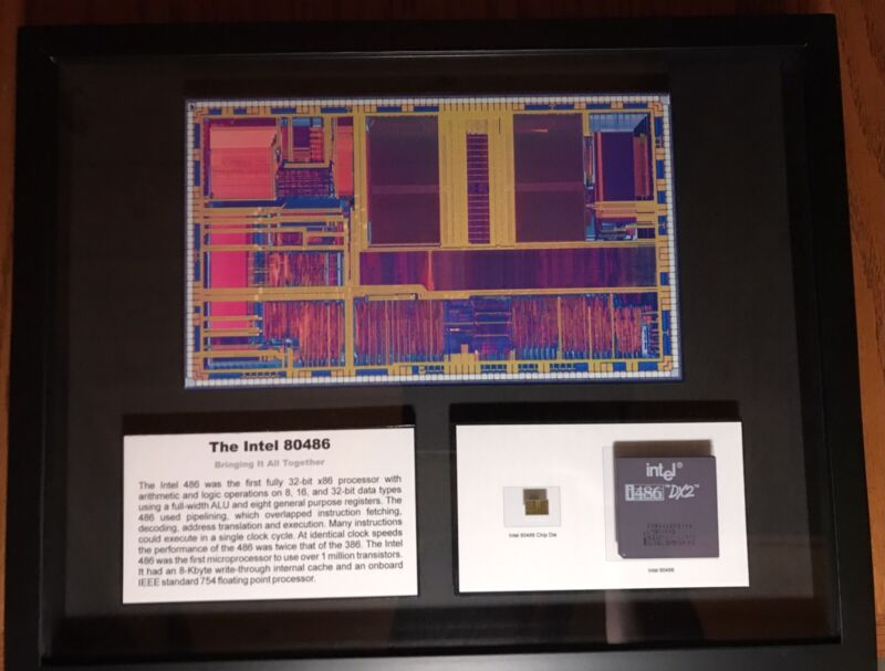 ChipScapes (TM) Intel 80486 Microprocessor Framed Mixed Media Artwork LE 3/50