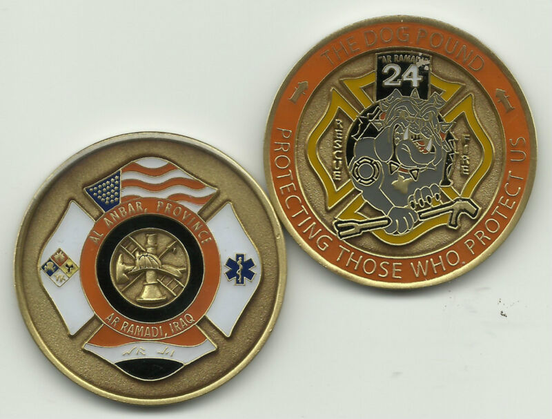 """AR Ramadi, Iraq  """"The Dog Pound - 24  Fire - Rescue"""" fire challenge coin (patch)"""